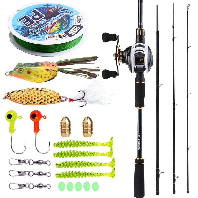 Sougayilang 2 1M Baitcasting Fishing Rod with Reel Combos 4Piece Medium Power Portable Carbon Travel Fishing