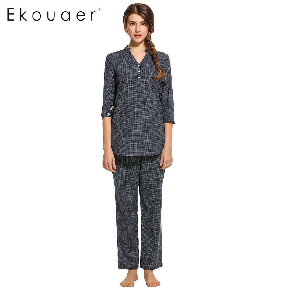 Ekouaer Fashion Women Cotton   Pajama     Set   Casual nightgown Plaid V-Neck 3/4 Sleeve Nightskirt Pants   Pajamas   Spring Homewear