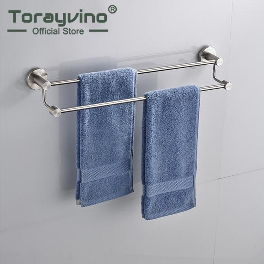Us 46 4 49 Off Torayvino Nickel Geburstet Edelstahl Bar Wandhalterung Badezimmer Handtuchhalter Lagerregal Regal 2 Schichten Handtuch Halter In