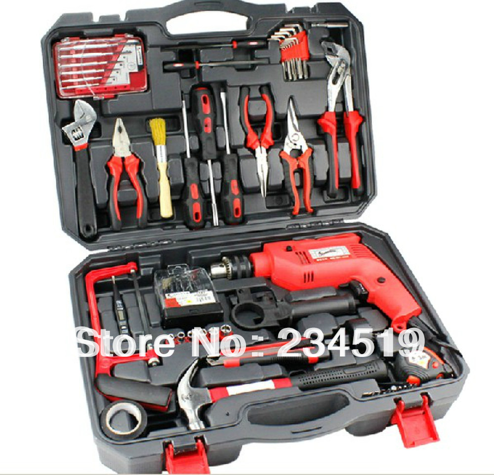 71 sets of household tool combination suit household group set of drill hardware tool box. Black Bedroom Furniture Sets. Home Design Ideas