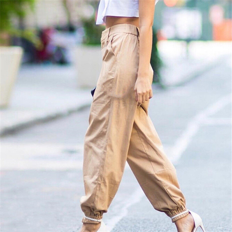 Women's high waist cargo trousers cotton pants solid punk casual loose long sports fashion plus size 7