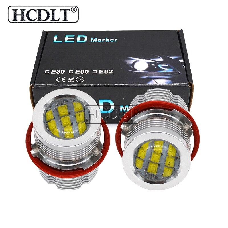 HCDLT Kit de indicateur LED haute puissance 120 W puces LED blanc jaune pour accessoires de voiture E60 E53 E63 E83 E87 E39 LED anneau de Halo yeux d'ange