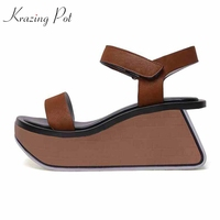 Krazingポット本革ブランドの靴ナイトクラブ女性サンダル人格ソールハイヒール韓国甘い素敵な女の子靴l10