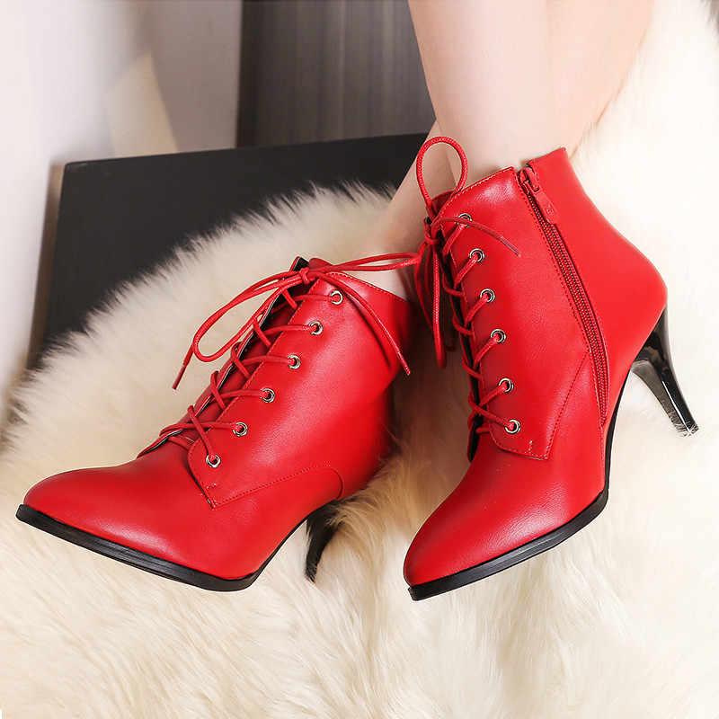 Doratasia ยี่ห้อคุณภาพดีขนาดใหญ่ 43 Elegant รองเท้าผู้หญิงรองเท้าข้อเท้ารองเท้าแฟชั่นรองเท้าส้นสูง Lace Up ผู้หญิงรองเท้ารองเท้า