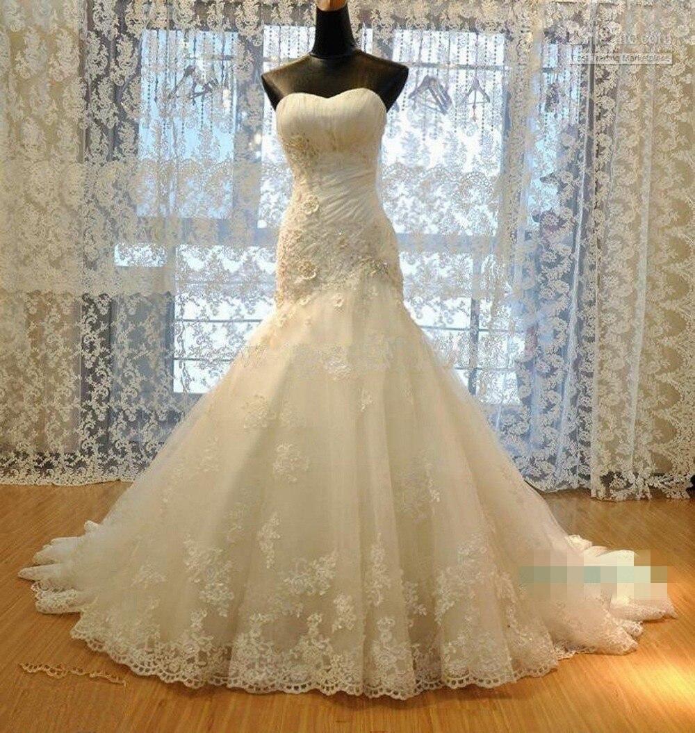 a3ea6c54606 Свадебные платья 2018 Русалка с боковыми элегантные кружевные аппликации  шифон плюс размер свадебные платья платье Vestido De Noiva