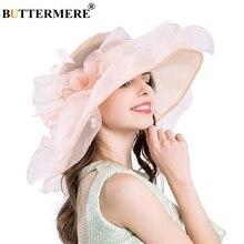 BUTTERMERE Pink Sun Hats For Women Organza Kentucky Derby Church Ladies Floral Elegant Gentleman Wedding UV Caps Summer