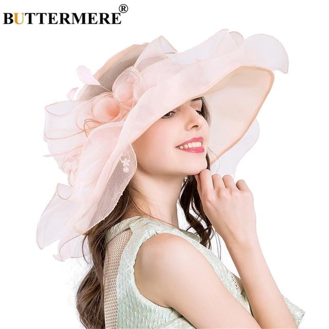 7251aac800e BUTTERMERE Pink Sun Hats For Women Organza Kentucky Derby Church Hats  Ladies Floral Elegant Gentleman Wedding UV Sun Caps Summer-in Sun Hats from  ...