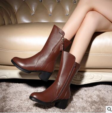 ФОТО Woman boots 2016 high quality sexy new casual warm winter boots, women's genuine leather boots, designer banquet boots women