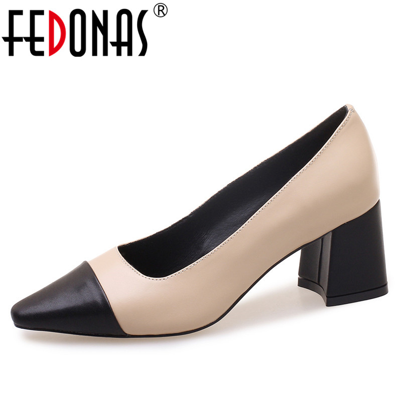 FEDONAS New Hot Women Genuine Leather Shoes Woman Sexy Square Toe Night Club Prom Pumps Female Elegant Patchwork Office Pumps women sexy prom night club black