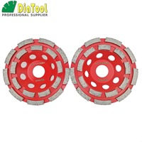 DIATOOL 2pcs 115mm Professional Welded Diamond Double Row Grinding Cup Wheel For Concrete, Dia 4.5 Diamond Grinding Disc