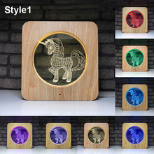 Unicorn Novelty Wood Frame Acylic Night Light 2019 New USB Supply Bedroom Lamp Soft Birthday Gifts LED Lights