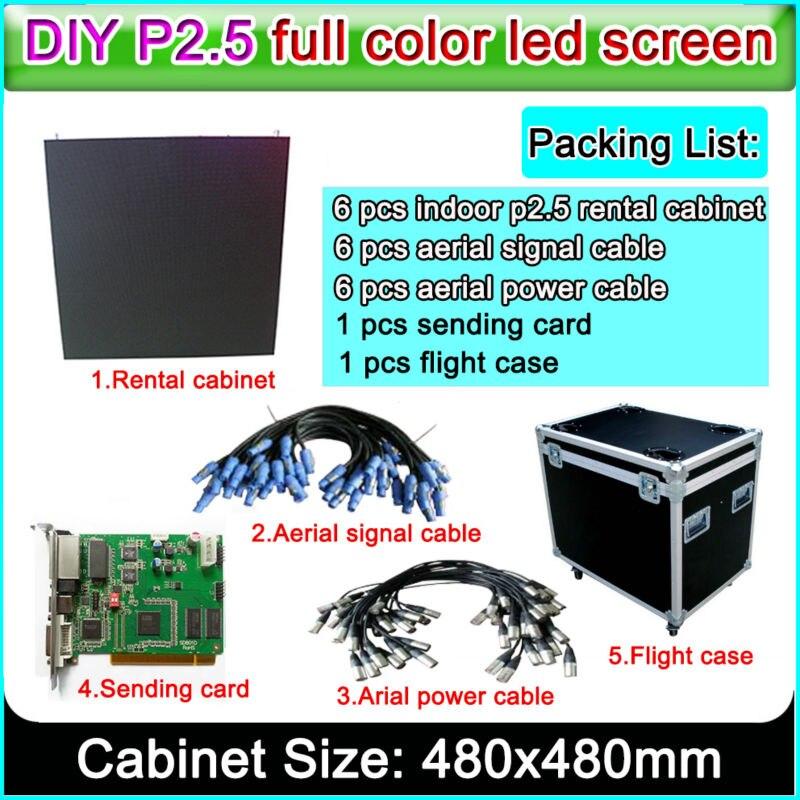 Rental Video Wall  For Indoor P2.5 Hd Led Display Screen Full Color Small Spacing Di-cast Alumium Cabinet 480x480mm