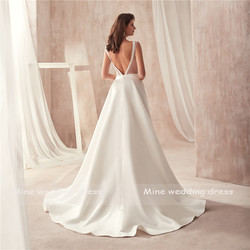 Famous Design Satin Wedding Dress with Pocket V-neck Cutout Side Open Back Bridal Dress Pocket vestido longo de festa 4