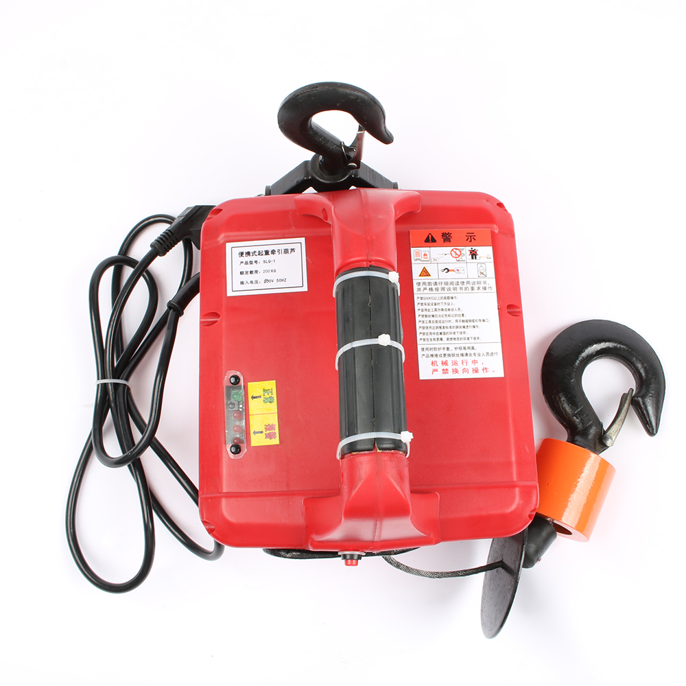 220V 500KGX7.6M 200x19M Portable Electric Winch with wireless remote controller winch traction block Electric hoist windlass