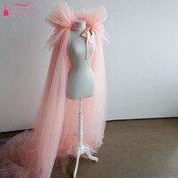Розовый Тюль Кабо свадебный болеро Длинные Дешевые Простые свадебные аксессуары женская Мода болеро Z899