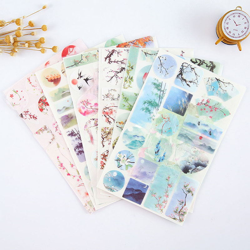Creative Watercolor Painting Decorative Diy Diary Stickers Kawaii Planner Scrapbooking Sticky Stationery School Supplies