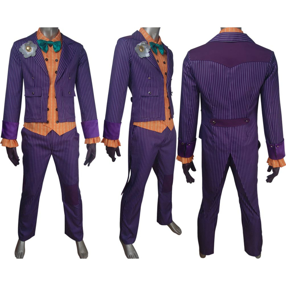 Supervillain clown Batman archenemy Joker cosplay costume Arkham Asylum tuxedo suit Halloween make-up carnival costume comic-con