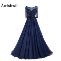 Newest Navy Blue Evening Dress With 3 4 Sleeves Zipper Back High Quality Handmade Beadings Long