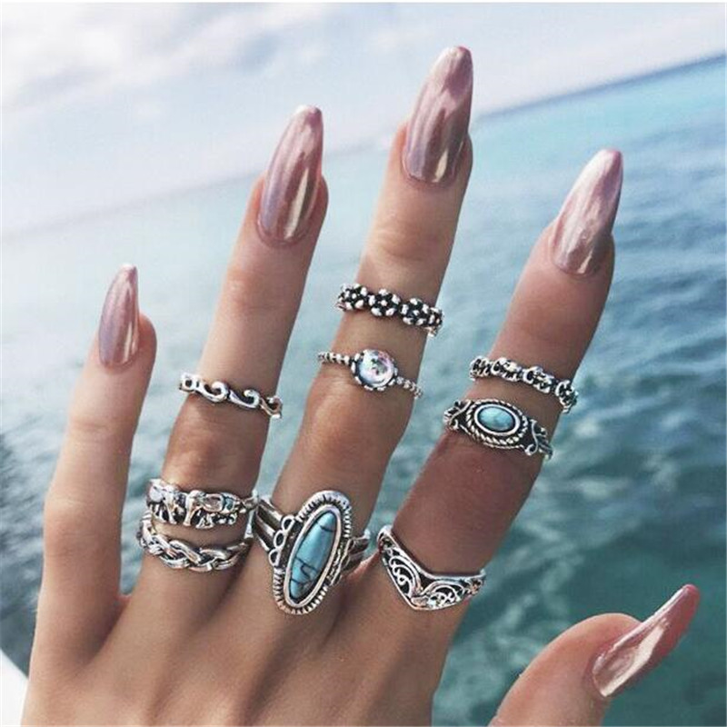 SexeMara 9pcs/Set Boho Stylish Elephant Flower Wave Carved Knuckle Midi Finger Rings Set for Women Antique Silver Rings Jewelry