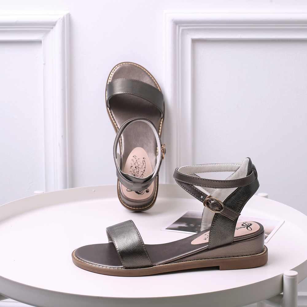 Asumer 2020 Hot Slae Mới Giày Người Phụ Nữ Khóa Da Thật Chính Hãng Da Giày Nữ Giày Đế Xuồng Nữ Giải Trí Giày Sandal Nữ Lớn kích Thước