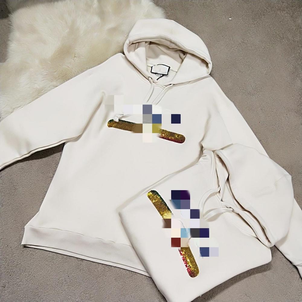 Printemps Harajuku À Capuche Lettre Paillettes sweat à capuche décontracté Sweat-Shirt Beige manches longues en coton Femmes Hoodies Pull 9251