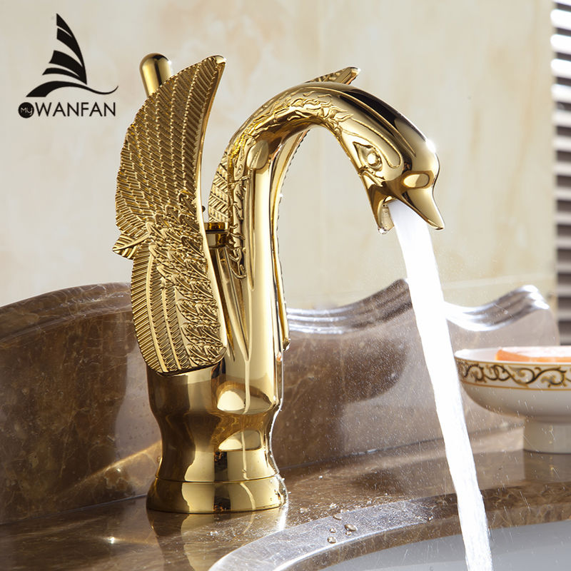 Basin Faucets New Design Swan Faucet Gold Plated Wash Basin Faucet Hotel Luxury Copper Gold Mixer