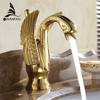 Basin Faucets New Design Swan Faucet Gold Plated Wash Basin Faucet Hotel Luxury Copper Gold Mixer Taps hot and cold Taps HJ 35K