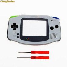 1 Juego de carcasa ChengHaoRan gris para Gameboy Advance, carcasa de plástico con pantalla w para GBA, funda con destornillador