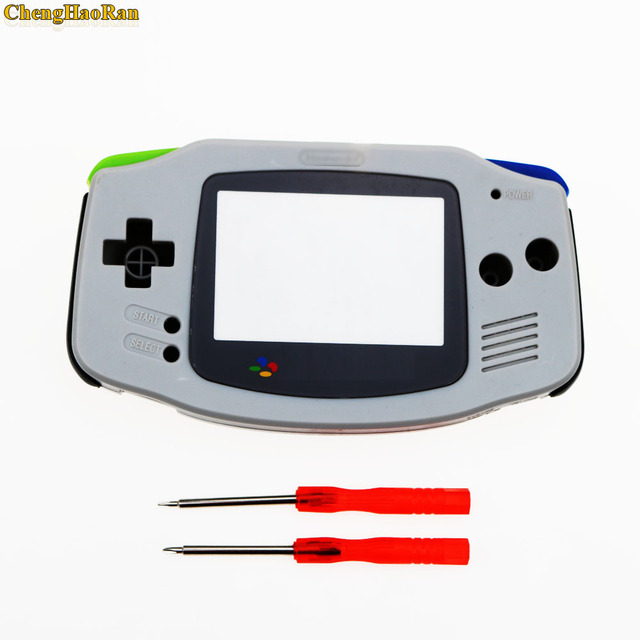 ChengHaoRan 1set Grey For Gameboy Advance  Plastic Shell Case Housing w Screen For GBA case Cover with screwdriver