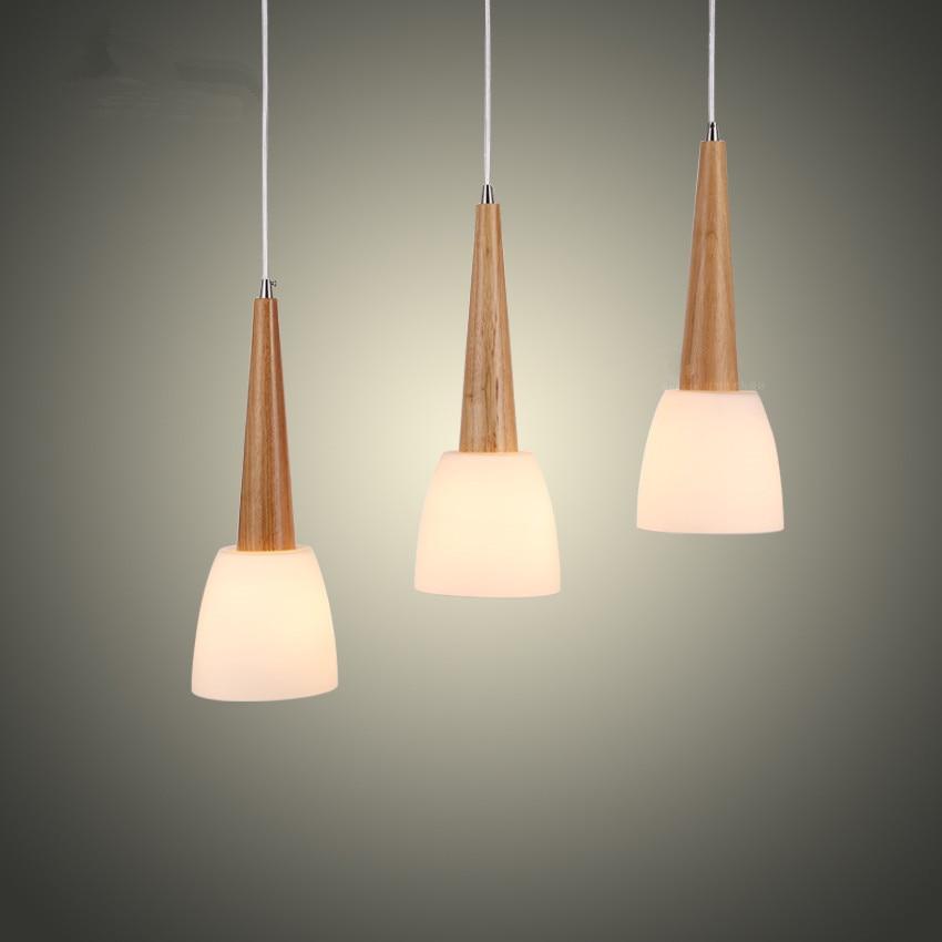 Online Shop Modern Wood Glass Pendant Lights Kitchen Hanging Pendant