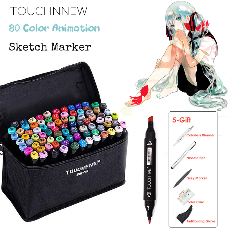 TOUCHNEW 80 Color Animation Marker Pen Set Drawing Sketch Markers Dulal Tips Alcohol Based Black Body