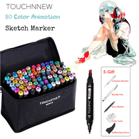 TOUCHNEW 80 Color Animation Marker Pen Set Drawing Sketch Markers Dulal Tips Alcohol Based Black Body Art Supplies With 5 Gifts