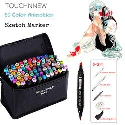 TOUCHNEW 80 Kleur Animatie Marker Pen Set Tekening Schets Markers Dulal Tips Alcohol Gebaseerd Zwart Body Art Supplies Met 5 geschenken