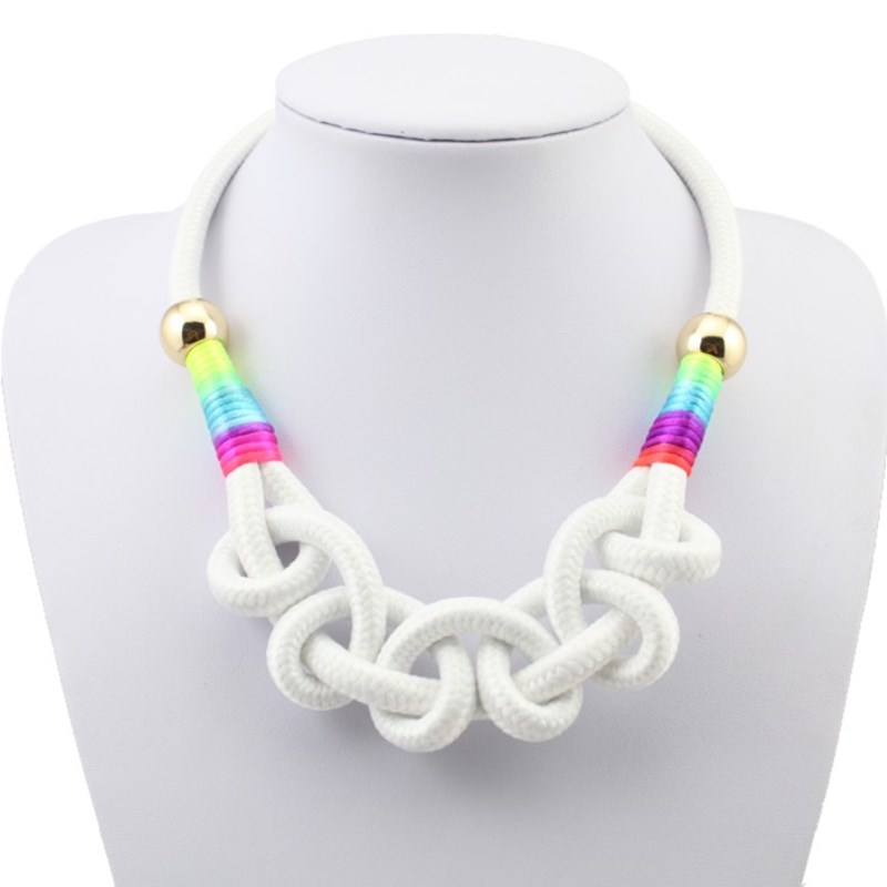 Fashion Wholesale Neon Rope Chain Necklace Cotton Pendant Choker Short Design Womans Necklaces Hot Sale Gift For Girl Jewelry