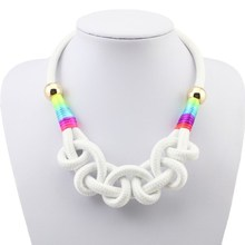 Fashion Wholesale Neon Rope Chain Necklace Cotton Pendant Choker Short Design Woman's Necklaces  Hot Sale Gift For Girl Jewelry