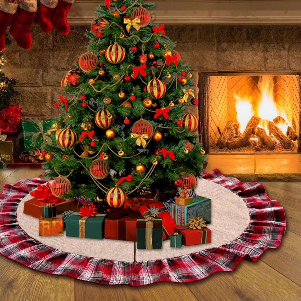 aytai 48 inches plaid christmas tree skirt red black buffalo imatited linen trees skirt christmas tree decorations