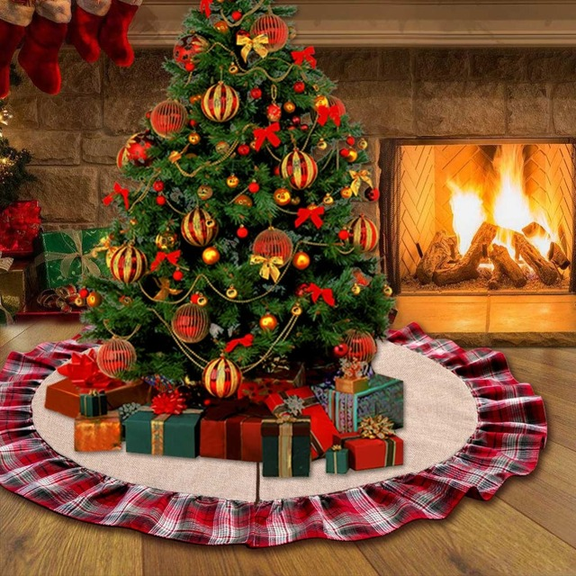 ourwarm 48inch plaid christmas tree skirt ruffle edge xmas tree skirt christmas decorations for home new - Plaid Christmas Tree Decorations