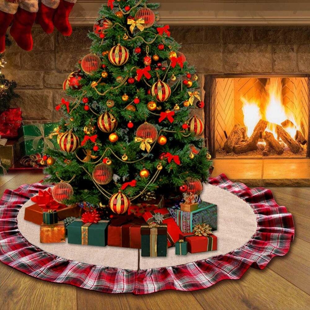 Ourwarm 48 polegada xadrez árvore de natal saia plissado borda árvore de natal saia decorações de natal para casa presentes de ano novo