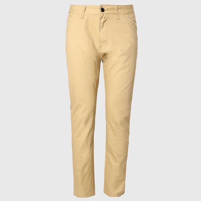 Homens calças chino fino longo macho calças retas cotton fit casual bottoms padrão inglaterra estilo coreano khaki preto