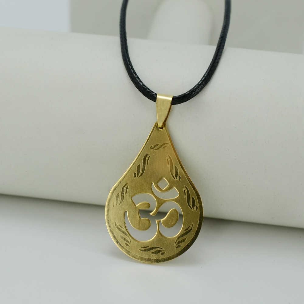 Anniyo Om wisiorek naszyjniki dla kobiet/mężczyzn, złoty kolor hinduski buddyjski hinduizm biżuteria indie joga prezenty #000608