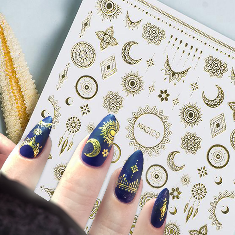 1 Sheet Ultrathin 3D Nail Stickers Star Moon Image Transfer Decal Gold Color 10.3*8cm Adhesive Nail Art Decorations