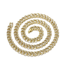 Iced Out Bling Rhinestone Crystal Necklace Gold/Silver/Black Color Chains Finish Miami Cuban Link Chain Men's Hip Hop Jewelry xukim jewelry silver gold color cubic zirconia iced out paw dog cat claw pendant necklace hip hop jewelry
