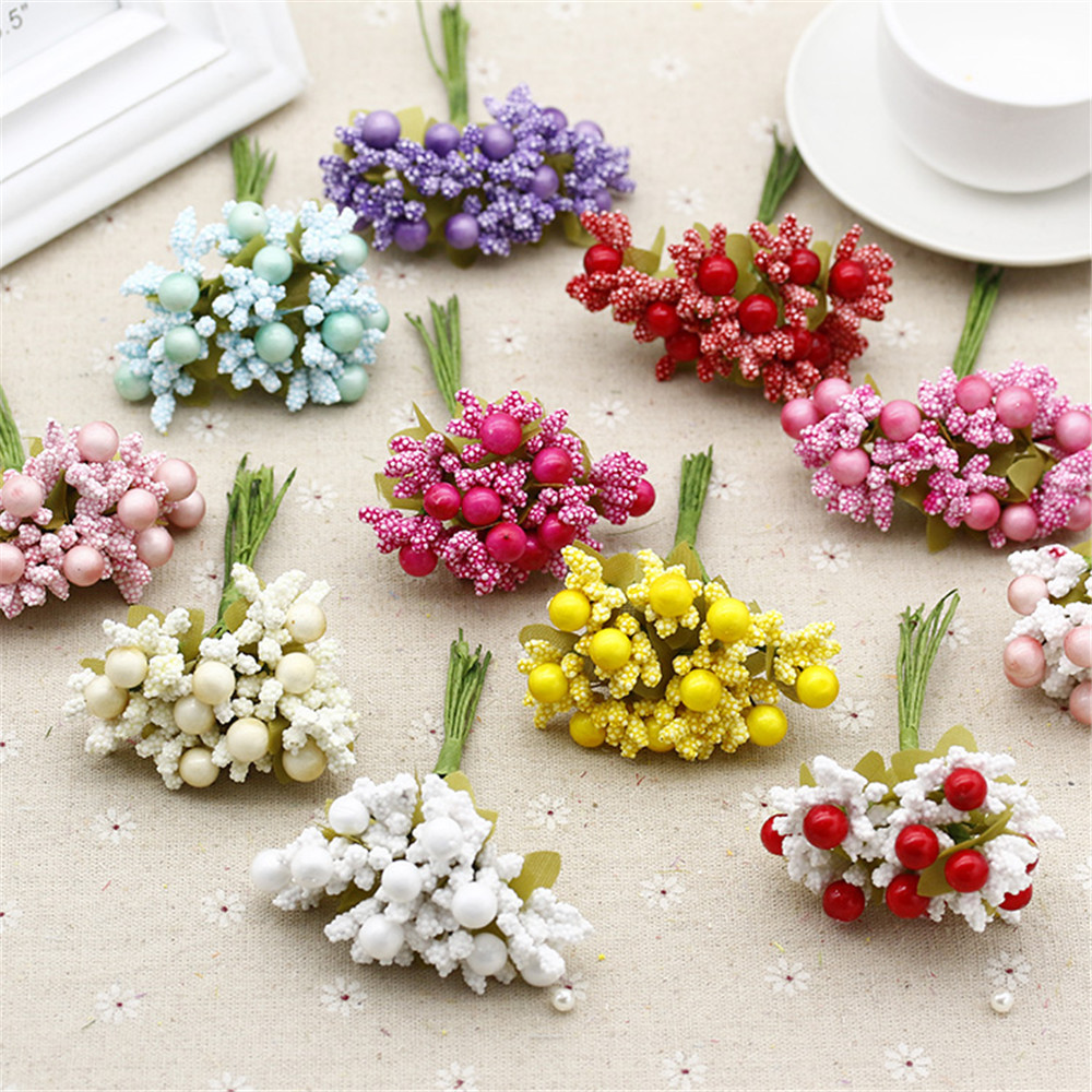 40 PCS / lot party Mulberry and cherry Artificial Flower Stamen wire stem / wedding leaves stamen wedding decoration box