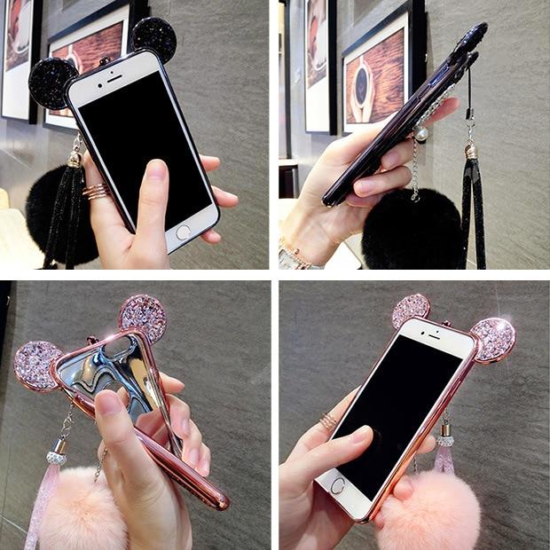 YESPURE Fancy Bling Glitter Cihazı IPhone 6 6s 7 8 plus Celular Fur - Cib telefonu aksesuarları və hissələri - Fotoqrafiya 6