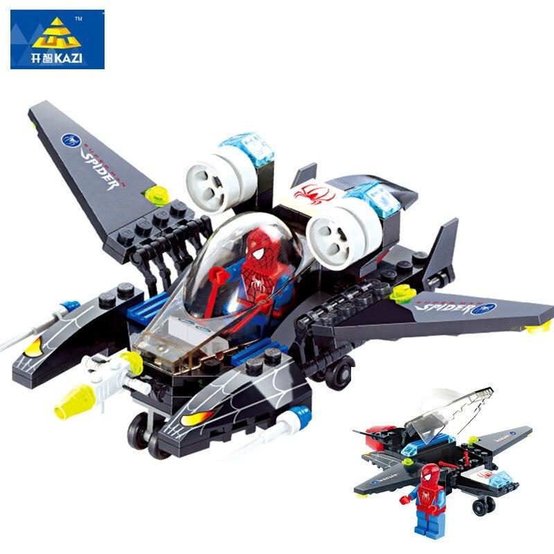 Kazi Super Heroes Spiderman Jet Building Block Set Spider man Minifigures Toys font b legoe b