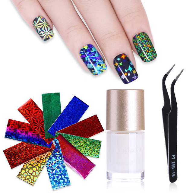 1 Bottle 9ml Clear Adhesive Nail Foils Transfer Glue and 50Pcs ...