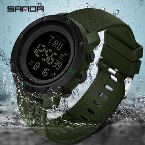 Image 2 - SANDA Reloj Hombre 2018 mody zegarek sportowy męskie zegarki cyfrowe odliczanie zatrzymanie zegarek Relogio Masculino wodoodporna para zegar