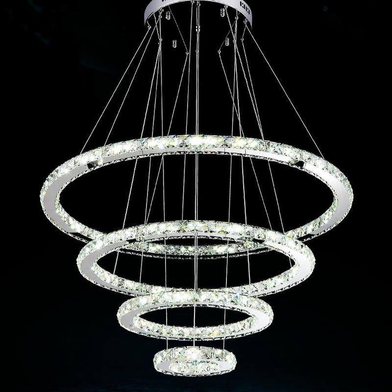 Modern Copper Ring Led Pendant Lighting 10758 Shipping: Promotion Price Luxury 4 Rings Stainless Steel K9 Crystal