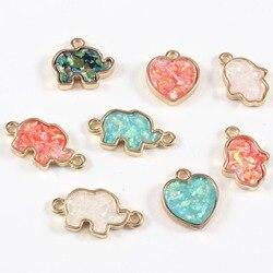 2pc Resin Synthetic Opal Elephant Fatima Hand Heart Earring Glitter Pendants Bracelet Connectors Charm DIY Ear Necklace Findings
