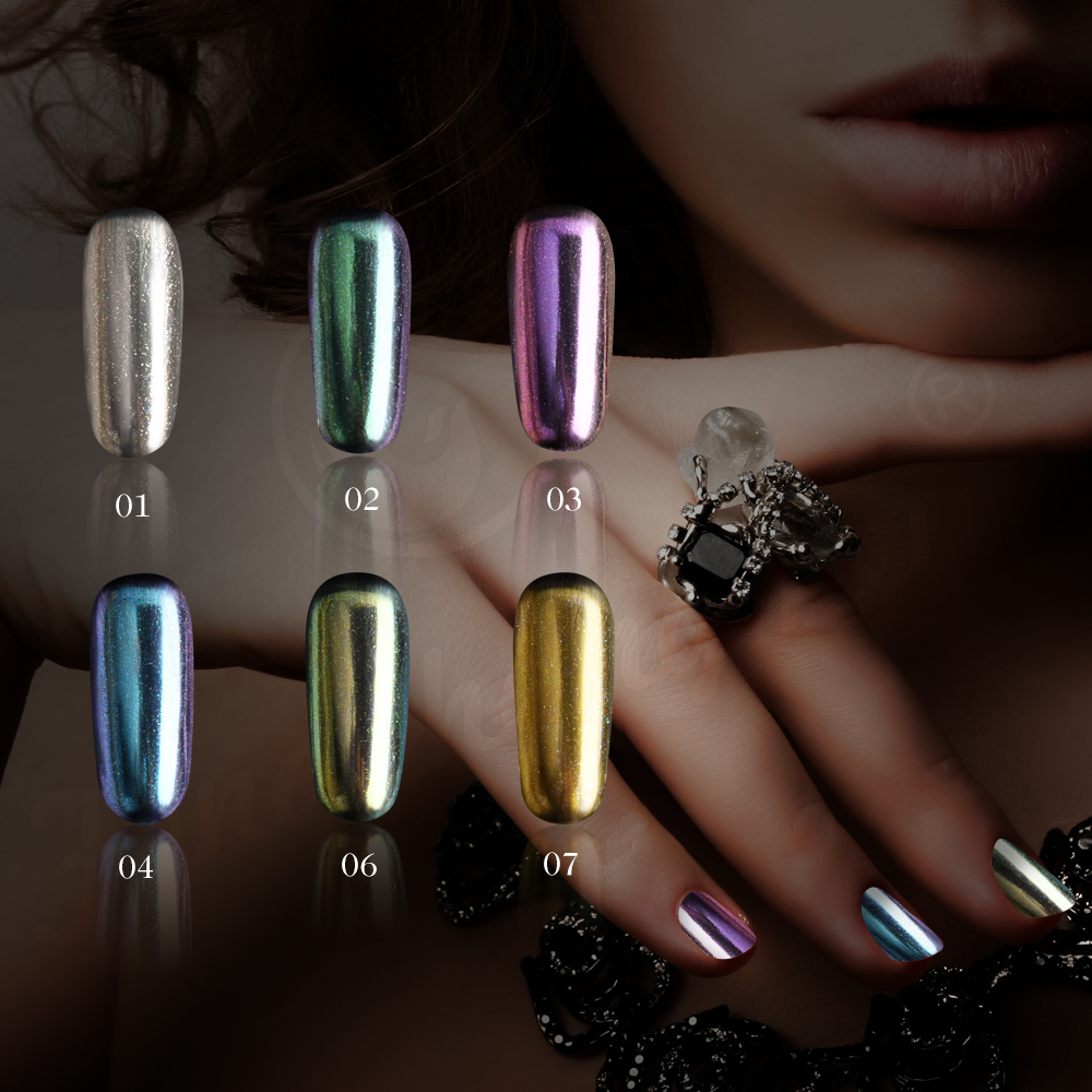 E & A Unicorn Chrome Mirror Nail Powder Metallisk Holografisk Nail Polish Powder Dust